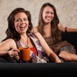 Pair of Laughing Women with Cups — Stock Photo