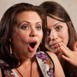 Shocked Woman and Whispering Friend — Stock Photo