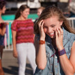 Shy Giggling Girl at Park — Stock Photo