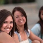 Three Cute Teen Girls Sitting — Stock Photo