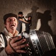 Accordion Player Singing For Dancers — Stock Photo