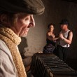 Dancers with Squeezebox Performer — Stock Photo