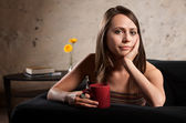 Serious Woman with Hand on Cheek — Stock Photo