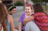 Four Teen Girls Giggling — Stock Photo