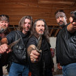 Four Mean Gang Members in Leather Jackets — Stock Photo