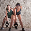 Two European Woman in Boot Camp Workout — Stock Photo #14933743