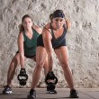 Royalty-Free Stock Photo: Two European Woman in Boot Camp Workout