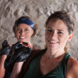 Smiling Ladies Holding Kettlebells — Stock Photo