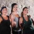 Three Boot Camp Style Workout Ladies Flex Their Biceps — Stock Photo