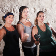 Three Cute Boot Camp Style Athletes — Stock Photo