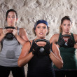 Foto Stock: Ladies Lifting Kettlebells in Boot Camp Style Workout