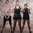 Three Ladies in Boot Camp Workout — Stock Photo