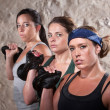 Ladies Lifting Weights in Boot Camp Workout — Stock Photo #14934187