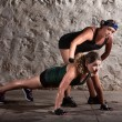 Boot Camp Trainer with Woman - Stok fotoğraf
