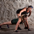 Stockfoto: Boot Camp Trainer with Woman