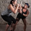 Two Women in Boot Camp Balance Training - Stock Photo