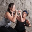 Lady and Trainer Sweating During Boot Camp Style Workout — Stok fotoğraf