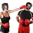 Laughing Lady Boxer Punches Man — Stock Photo