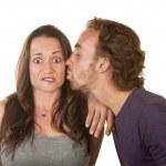 Man Kissing Surprised Woman — Stock Photo
