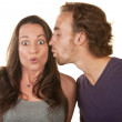 Astonished Woman Kissed by Man — Stock Photo #14935163
