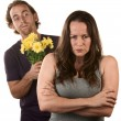 Angry Woman and Man with Flowers — 图库照片