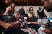 Aggressive Biker Gang Gamblers — Stock Photo
