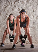 Beautiful Women in Boot Camp Style Workout — Stok fotoğraf