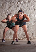 Two Women Struggle with Boot Camp Workout — Stock Photo