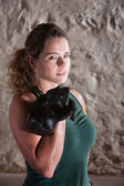 Strong Lady Holds Kettlebell — Stock Photo