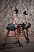Signore facendo boot camp workout — Foto Stock