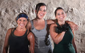 Three Sweaty Boot Camp Workout Women — Stock Photo