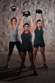 Sweating Women Doing Boot Camp Exercises — Stok fotoğraf