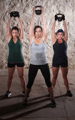 Ladies Lifting Weights in Boot Camp Workout — Stock Photo