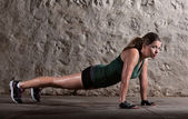 Lady Doing Push-ups — Stock Photo