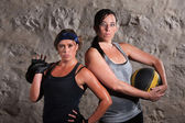 Boot Camp Traning Women Holding Equipment — Stock Photo