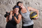 Excited Boot Camp Training Partners — Stok fotoğraf