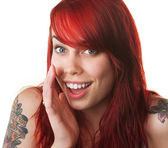 Happy Young Woman Whispering — Stock Photo