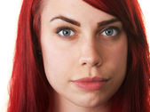 Hopeful Young Woman in Red Hair — Stock Photo