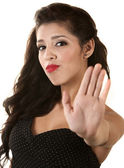 Woman Gesturing to Stop — Stock Photo
