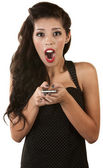Excited Woman with Phone — Stock Photo