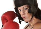 Boxer de mulher com luvas de close-up — Foto Stock