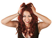 Emotional Woman Pulling Her Hair — Stock Photo