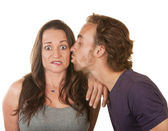 Man Kissing Surprised Woman — Stock Photo