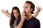 Woman Ready to Punch Yawning Man — Stock Photo