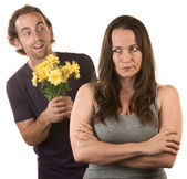 Skeptical Lady with Smiling Man — Stock Photo