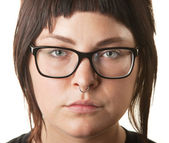White Female with Nose Ring — Stock Photo
