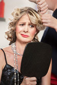 Dissatisfied Hair Salon Client — Stock Photo