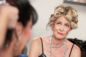 Frowning Lady in Salon — Stock Photo