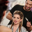 Smiling Woman with Hairdresser — Stock Photo
