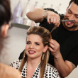 Happy Woman Getting Haircut — Stock Photo